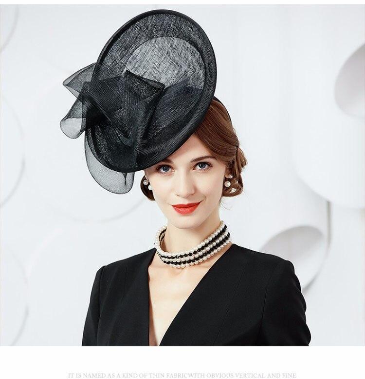 FS European Hat Wedding Women Fascinators Black Ladies Church Hats ... 8f97c31faa4