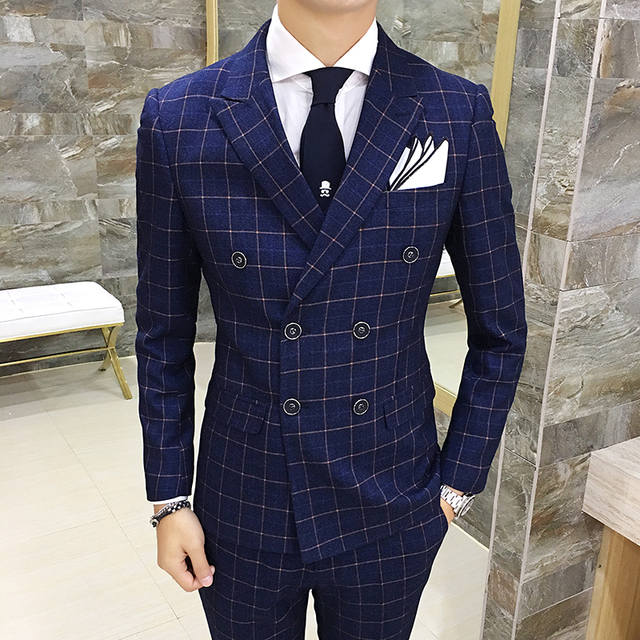 groom suit double-breasted lattice suit three-piece (Blazer+Pants+Vest) Plaid Suit Mens Classic Vintage Gentleman Wedding