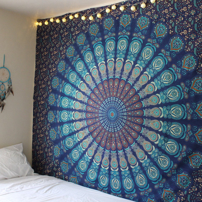 New Indian Mandala Tapestry Hippie Home Decorative Wall Hanging Bohemia Beach Mat Yoga Mat Bedspread Table Cloth 210x148CM 02 champagne