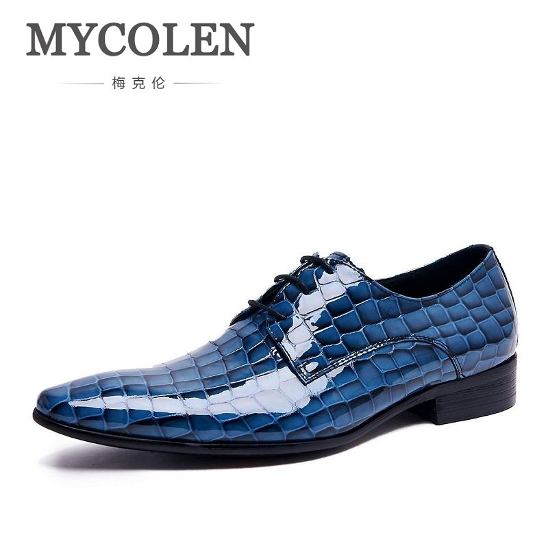 MYCOLEN Men Leather Shoes Breathable Lace-Up Flats Patent Leather Male Dress Shoes Blue Oxfords Shoes Zapatos De Boda Hombre klywoo new white fasion shoes men casual shoes spring men driving shoes leather breathable comfortable lace up zapatos hombre