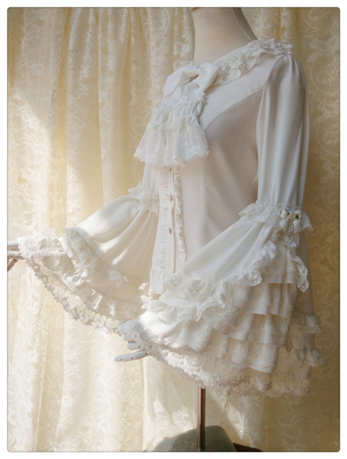 Vintage Thick Women s Cream Chiffon Blouse with Gorgeous Lace Flare Sleeve by Yiliya