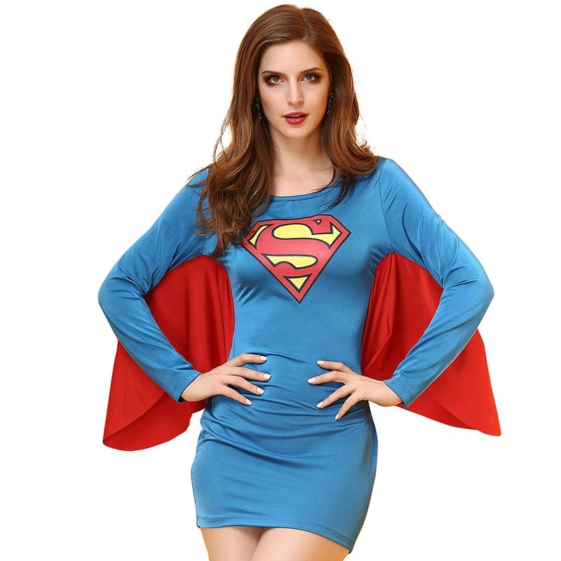 Halloween Costume For Women Superhero Costume Superwomen Supergirl Cosplay Supermen Fancy Cloak Dress for Carnaval Party