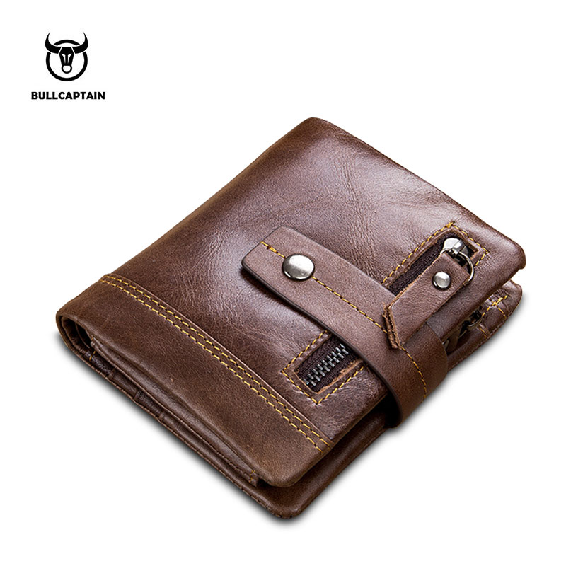 BULL CAPTAIN Cow Leather Men Wallet Fashion Coin Pocket Brand Trifold Multifunction Men Purse High Quality Male Card ID Holder etya brand cow leather men women wallet female fashion coin pocket multifunction purse high quality male card id holder purse