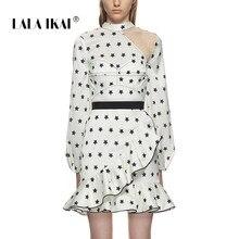 39e316c7fc LALA IKAI Office Lady Summer Mini Dresses Women Sexy Hollow Out White  Ruffles Dress Retro Long Sleeve Party Vestidos SWC1268 47