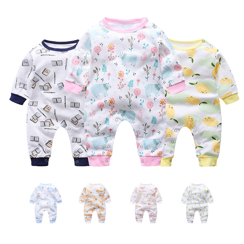 Spring-autumn New Born Baby Boys Girls Cartoon Clothes Long Sleeved Cotton Costumes Cute Baby Wear Funny Boys   Rompers   Pajamas
