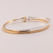цена на 10pcs/lot Hot Sell Silver Gold Mantra Bracelet Inspirational Engraved Copper Bangle For Women
