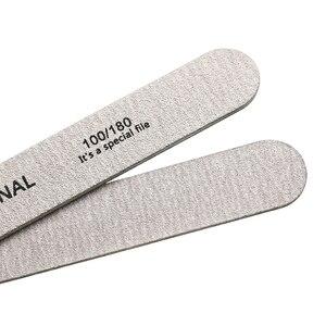 Image 4 - 10pcs เล็บไฟล์ 100/180 ไม้เล็บบัฟเฟอร์ Professional กระดาษทรายเล็บเจลไฟล์หนาสีเทาทำเล็บมือเครื่องมือ