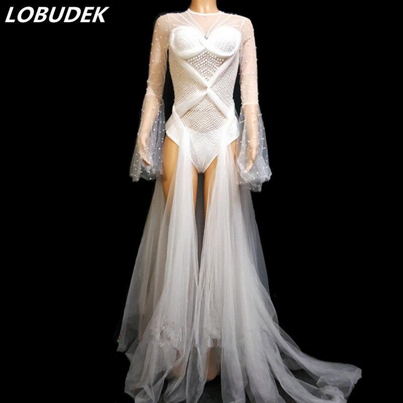 Discothèque femmes chanteur Costume blanc perles cristaux voir-quoique traînant body femme Bar fête anniversaire passerelle scène porte