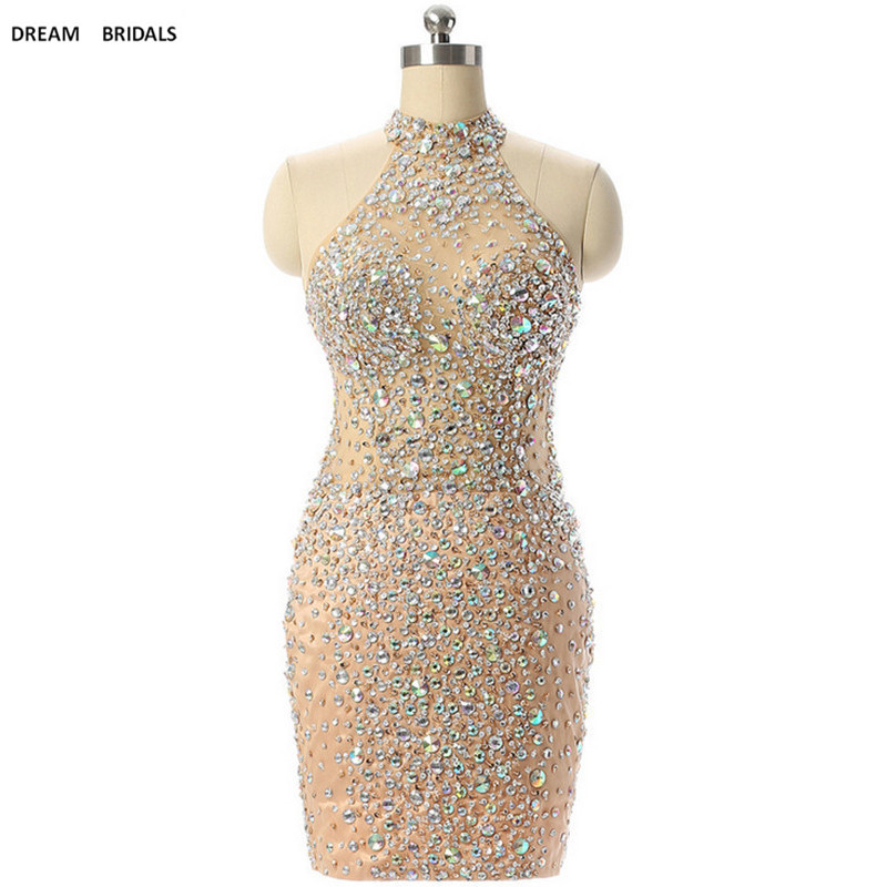 Illusion Heavy Beading Crystal Knee Length   Cocktail     Dresses   2019 High Quality Sleeveless High Neck Robe De   Cocktail