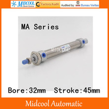 Mini air cylinder MA32-45 stainless steel bore 32mm stroke 45mm double acting small pneumatic cylinder