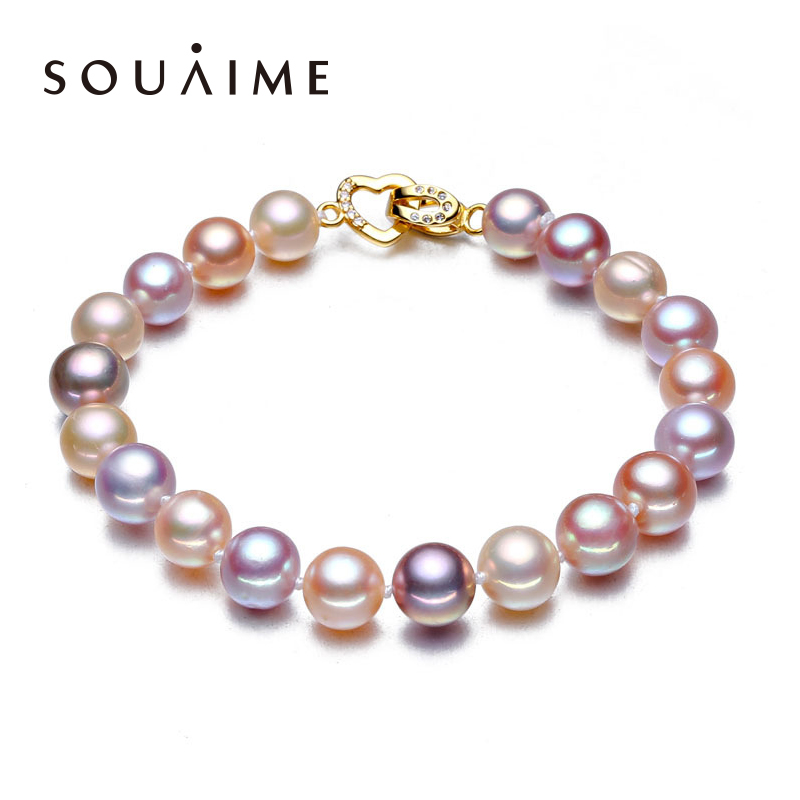Natural Pearl Boutique Bracelet 18cm Mixed Color Pearl Round AAAA Glare Charm Fine Jewelry Gifts For Women amorita boutique two color skull pearl bracelet