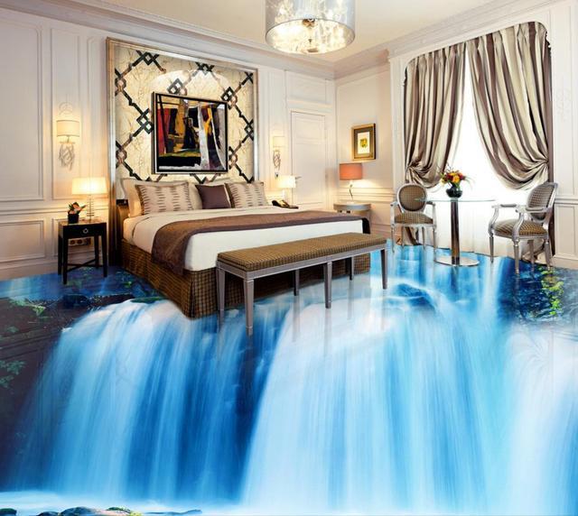 3d Floor Wallpaper Pvc Custom Bedroom Flooring Waterfall Self Adhesive Wall Mural