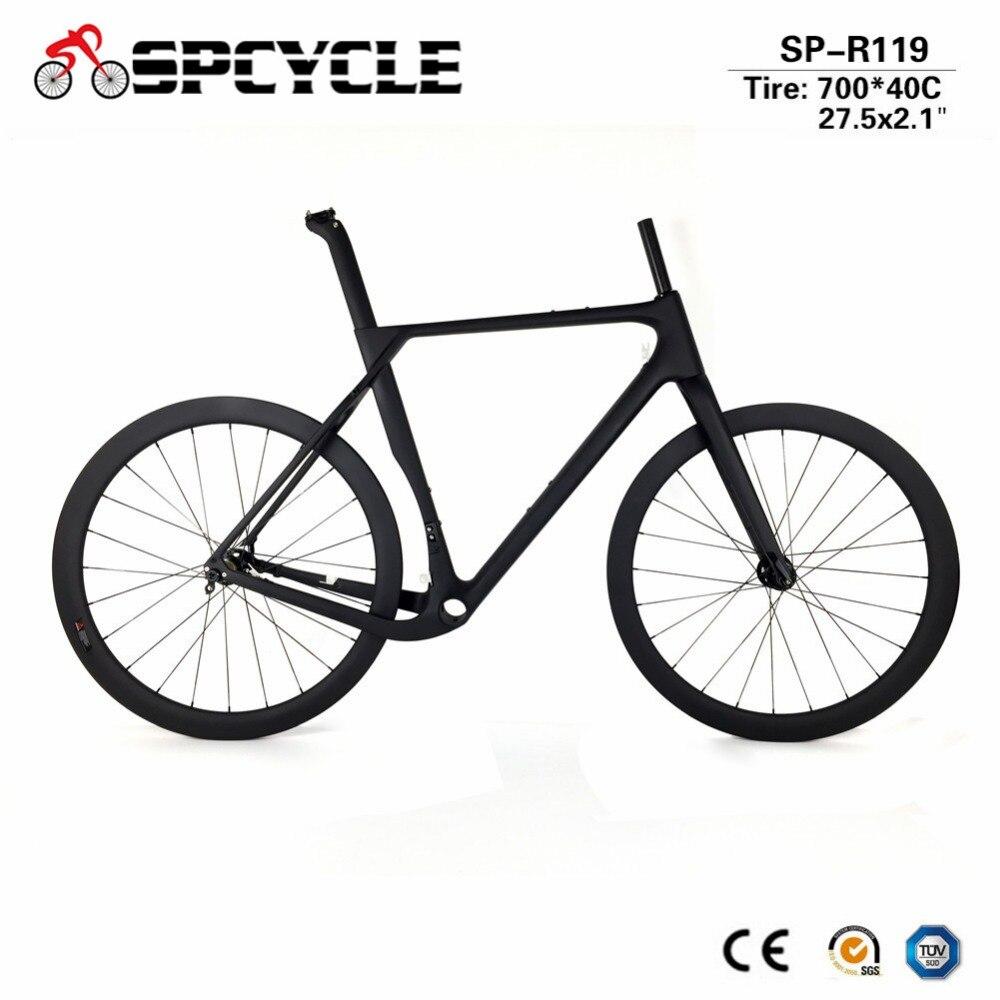 Cheap Spcycle 2019 New Aero Carbon Cyclocross Gravel Bike Frame And Wheelset T1000 Carbon Disc Brake Road Bike Frameset 49/52/54/56cm 0