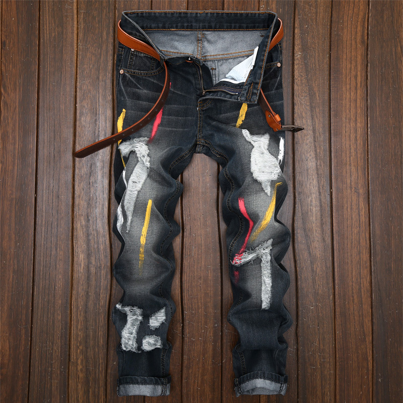 28-42 size paint jeans men and women in the American and European holes personality nostalgic trim straight leg jeans.