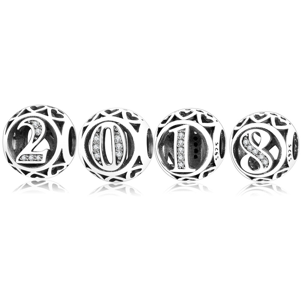 Pandora Jewelry Charms For Bracelet 2: 2018 New Year Jewelry 925 Sterling Silver Number Charm