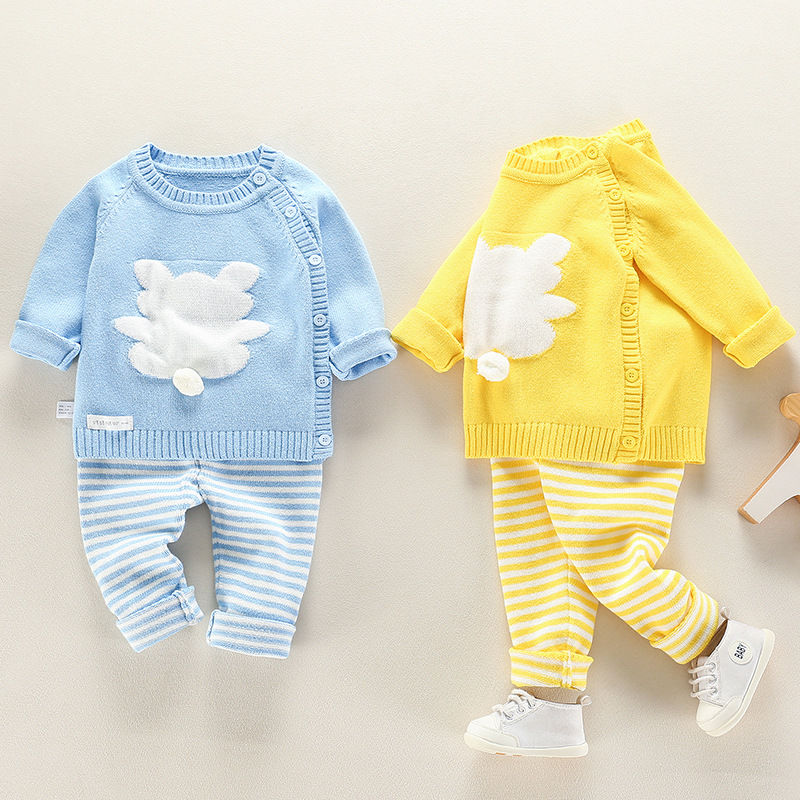 Infant Baby Clothes knitting Sweater Set Child Outwear For Spring Autumn 2018 New Toddler O neck Flower Animal Clothing Suits
