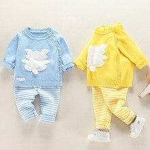 Niemowlę dziecko ubrania sweter z dzianiny zestaw dziecko odzież wierzchnia na wiosnę jesień 2020 nowy maluch O neck kwiat zwierząt odzież garnitury