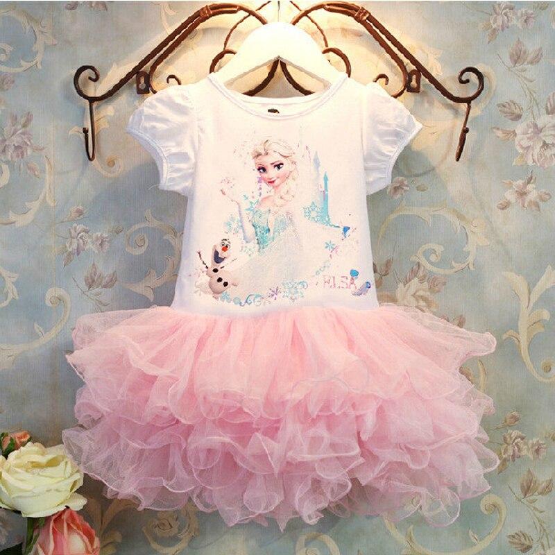 Hot Sell Summer Girls Dress Pink Cute Elsa costume princess dress Baby&kids dress Girl cartoon party dress vestidos High Quality