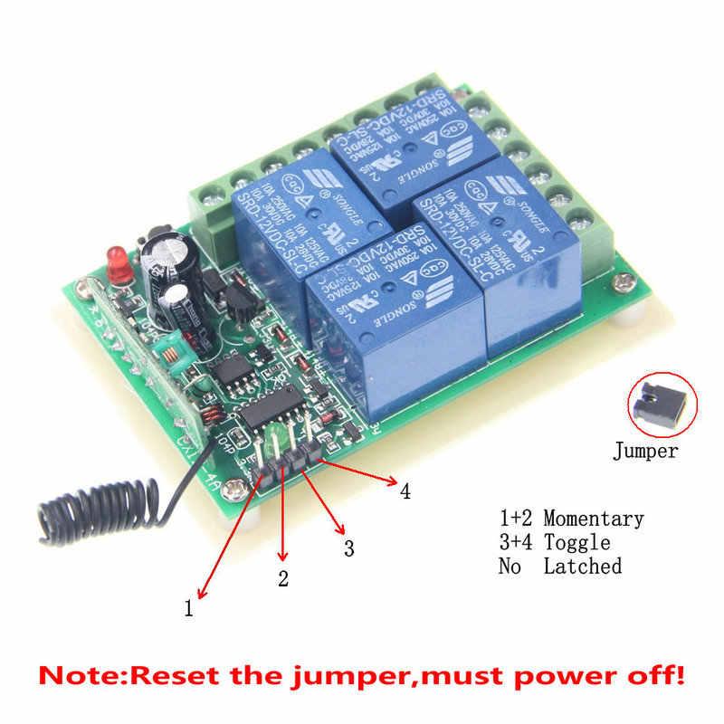 الذكية متعددة تيار مستمر 12 فولت 24 فولت 10A 315/433 ميجا هرتز 4CH 4 CH اللاسلكية التتابع RF التحكم عن بعد التبديل استقبال 1 2 3 4 الارسال