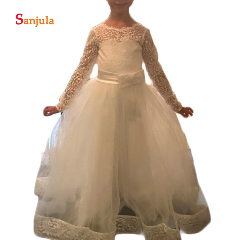 Lace Long Sleeve   Flower     Girls     Dresses   Ivory Tulle   Dress   2019 Newly   Girls   Birthday Party   Dress   with Bow Open Back D163