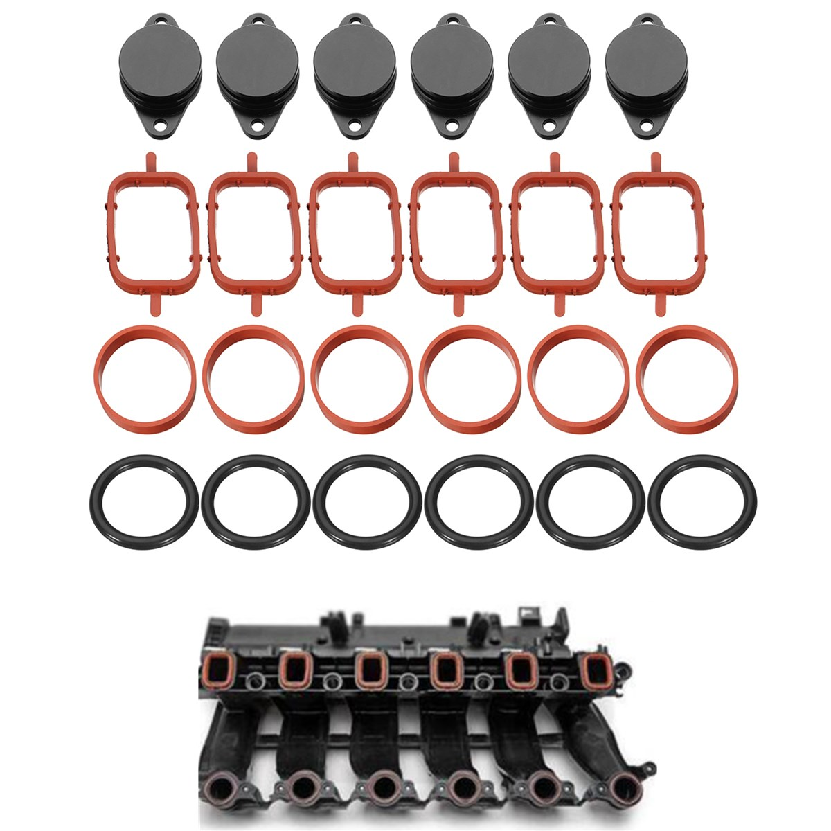 High quality 33mm 6Pcs for Diesel Swirl Flap Blanks Blank Repair Kit + Intake Manifold Gaskets Replacement Bungs For BMW