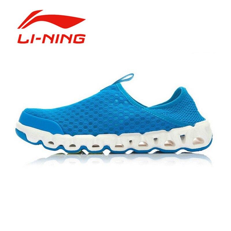 ФОТО Li-Ning Men's Summer Slip-On Aqua Shoes Li Ning Anti-Slip Mesh Comfortable Simple Outdoor Non-Slip Sports Sneakers AHLJ007