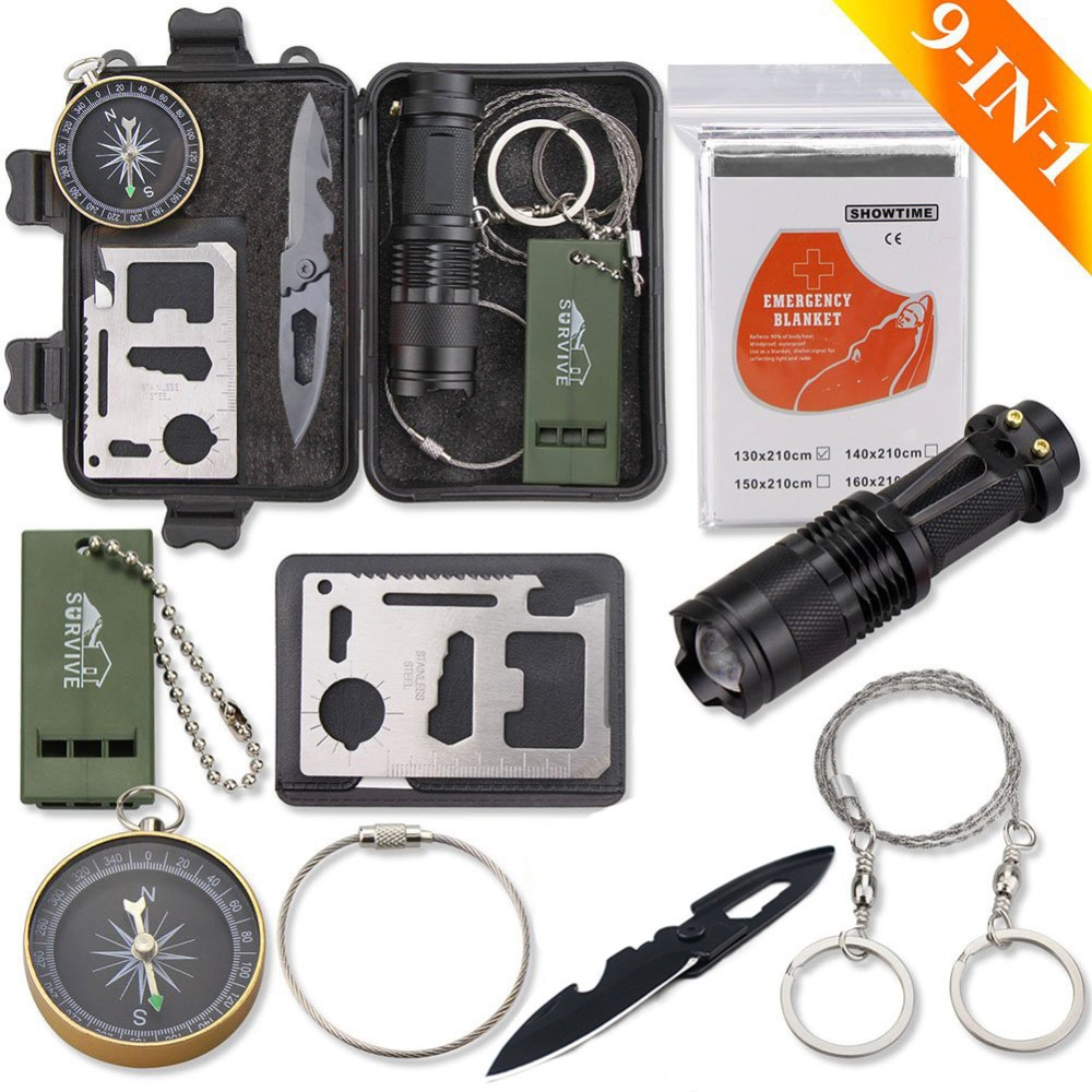 Outdoor Survie Equipement Camp Kit Survival Equipment First Aid Whistle Emergency Blanket  SOS Flashlight Folding Knife Wire Saw