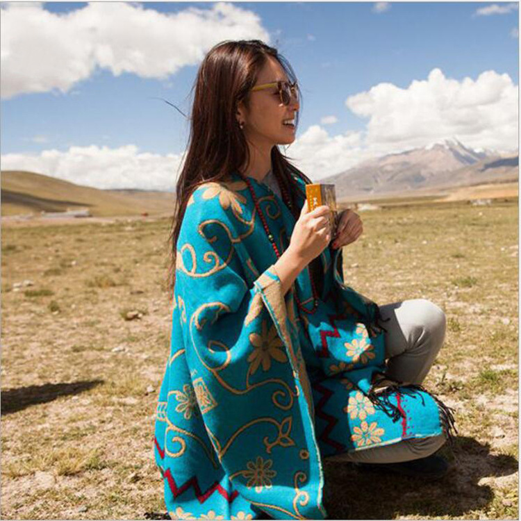 Femmes tibétain châle népal Imitation cachemire châle tournesol Style ethnique chandail irrégulière gland ouvert châle