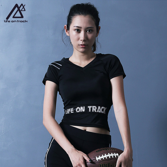 5624b5cc11b7d Life on Track Women s V Neck Short Sleeve Top Lightweight Sports Athletic  Shirt Trainning   Exercise T-shirts