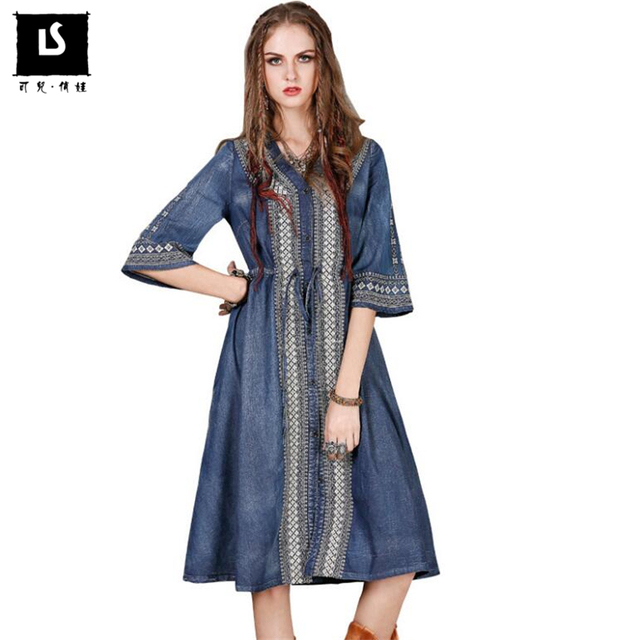 High Quality 2018 Vogue Summer Women Casual New Embroidered Denim Dress Sexy  V-neck Vintage d6223dd01ad1