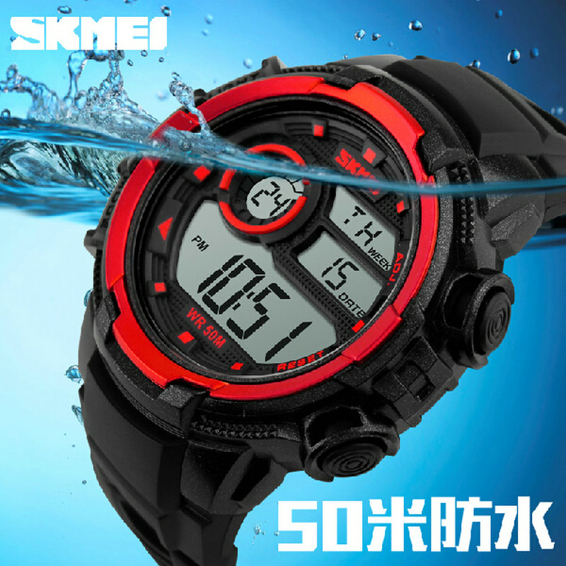 Skmei digital alarm clock night light sport watch he male girl waterproof LED electronic watches for