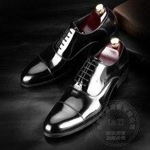 Echtes Leder Männer Schuhe Hochzeit Schuhe Rindsleder Plain Lackleder Reine Farbe Italienische Männer Schuhe