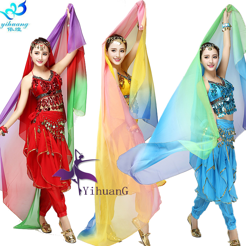 Ladies Belly Dance Costume Scarf Stage Performance Shawl Belly Dancing Veil Light Texture Gradient Colors Imitation Silk ...