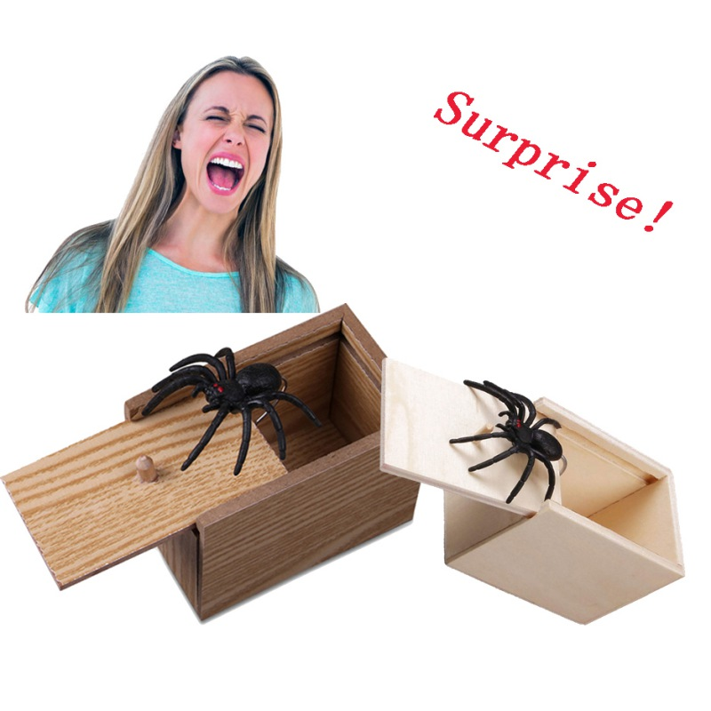 Funny Wooden Scare Box Toy Spider in a box prank Trick Scary Party Props UK
