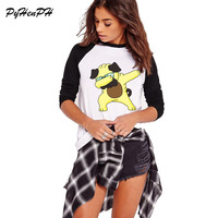 PyHenPH 2017 Women New Fashion Dabbing Dog Cat Printed Long Sleeve T Shirt Lady Fantastic Design
