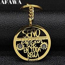 2019 Seno Eres an Sot EN TODA REGLA Stainless Steel Keychains Women Letter Gold Color Pendant Key Jewelry llavero K77627B