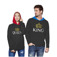 winter KING Queen COTTON women Men female Male love Couple brand Print grey anime Hoodie Sweatshirt down Jacket Coat clothes B4