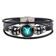 constellation bracelet punk style personality couple leather multi-layer woven glass buckle bracelets pulseras mujer