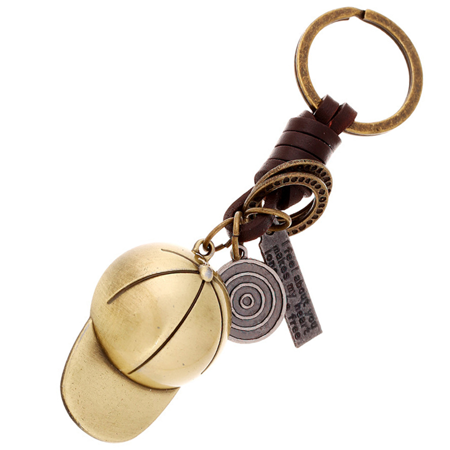 388fe9a23a14c Punk Vintage Baseball Cap Keychain Genuine Leather Key Chain Ring Holder  Bag Charm Pendant Car Decoration Keyring Gift FY059-in Key Chains from ...
