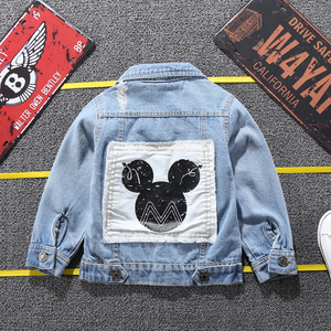 Image 2 - Children Mickey Denim Jacket Coat 2020 New Spring Autumn Kids Fashion Outerwear Boys Girls Hole Cartoon Jeans Coat For 2 7 Yrs