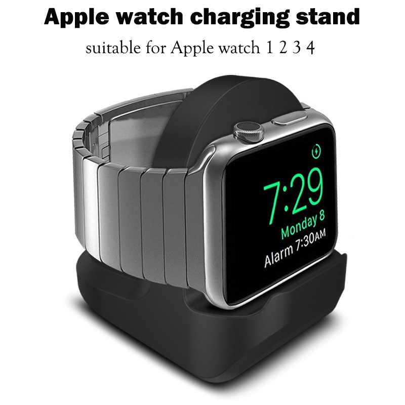 Silicone Charge Dudukan Stasiun Dock untuk Apple Watch Seri 1/2/3/4 42 Mm 38 MM Charger Kabel Pemegang untuk IWatch 1 2 3 Dermaga