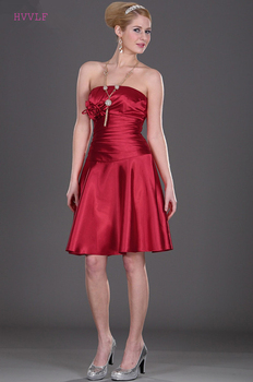 Red Cheap Bridesmaid Dresses Under 50 A-line Strapless Knee Length Backless Short Wedding Party Dresses