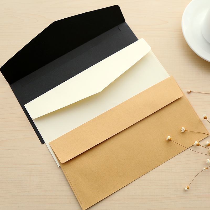 5 Pcs/lot Korean Simple Kraft Paper Envelope Letterhead Retro Style Solid Color Blank Love Letter Envelope