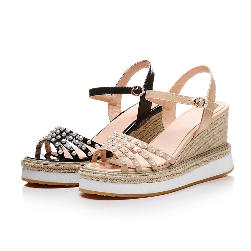 Moda Cuero Ldhzxc Mujer Muchachas Beige Sandalias Zapatos Genuino Las De Cuñas Mujeres negro Verano Talón Señoras wxXXqn1
