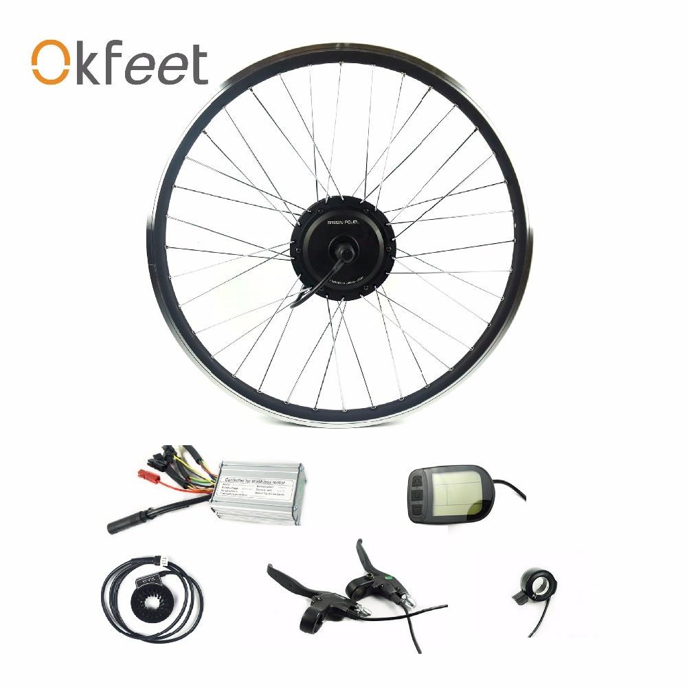 Okfeet 36V/48V 450W ebike conversion kit 20 24 26 27.5 28 700c rear rotate wheel hub motor with spoke and rim серебряное кольцо ювелирное изделие 70803