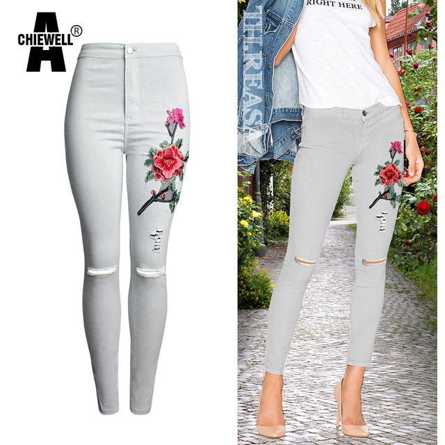 Achiewell American Apparel Fashion Women Jeans Knee Ripped White 3D Floral embroidery Ripped Women Pencil Jeans