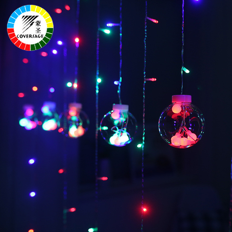 Coversage 3M Pema e Krishtlindjeve Perde dekorative Garlands Xmas Fairy String Light Guirlande Lumineuse Led Navidad Outdoor Holiday