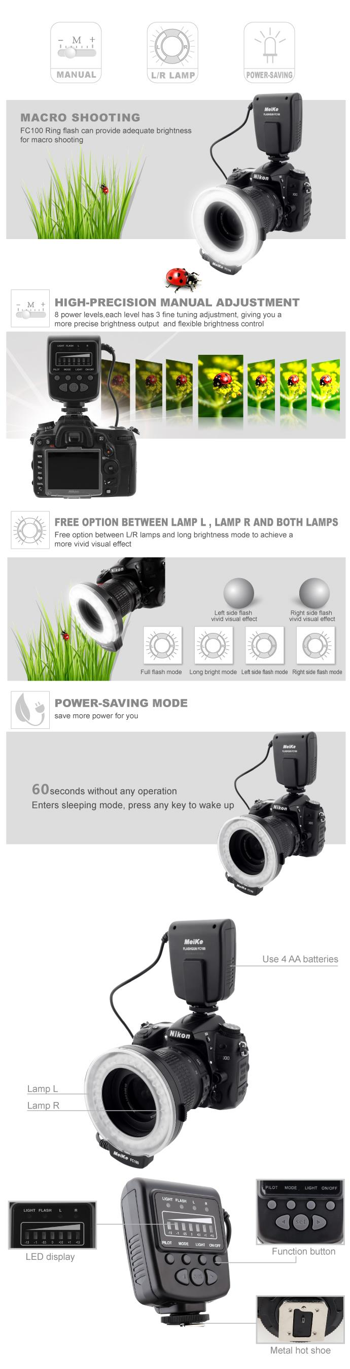 Mcplus MP-MRF32 מאקרו הבזק טבעת האור במצלמות Nikon D7100 D7000 D5200 D5100 D3200 D3100 D3000 D800 D600 D90 D80 של FC-100