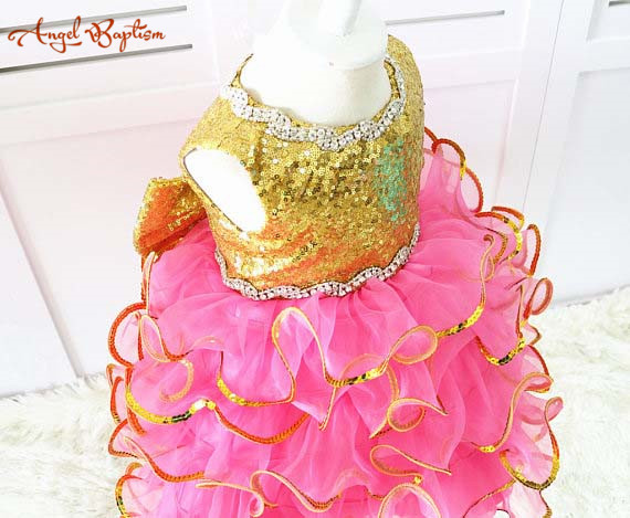 Glitter Gold sequins rose Pink ruffles kid Pageant Dress glitz Easter girl  outfit Toddler special Event Baby Birthday Dresses-in Dresses from Mother    Kids ... da9c9b95aba3