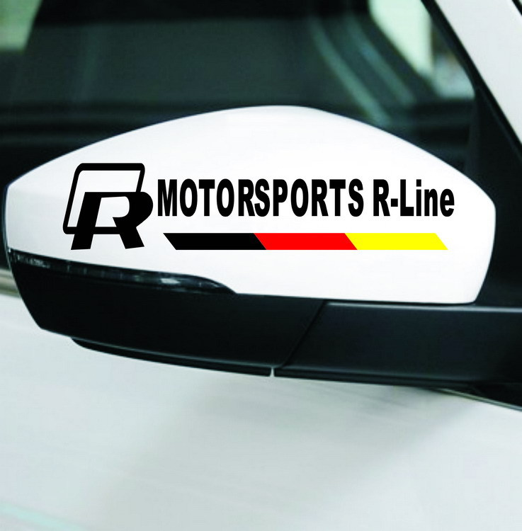 2pcs R MOTOR SPORTS R-Line Car Stickers for Volkswagen vw Golf MK6 MK7 Polo Rearview Mirrors Automobiles Exterior Car-Styling